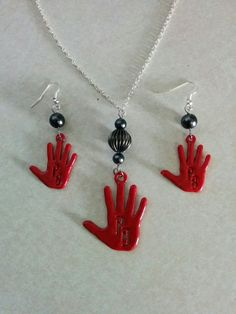 Peaky Blinders Inspired Red Right Hand Necklace & Earrings by BeadsNBrushes on Etsy, $4-10