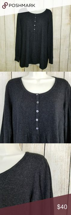 """Llbean sweater L.L. Bean Baby Doll Sweater. Charcoal color. Size L. New without tags. 33% viscose, 23% nylon, 18% cotton, 18% lambs wool, 4% angora rabbit hair, 4% cashmere.    Measurements: armpit to armpit 20"""", length 27"""", sleeve length 17"""" llbean Sweaters"""
