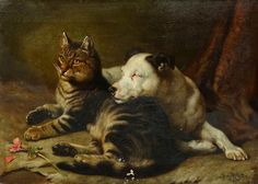 Fine 19th Century Tabby Cat & Bull Terrier Dog Antique Oil Painting W W CARTER