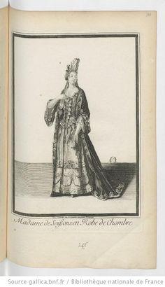 Madame de Soissons en Robe de Chambre, estampe, chez Trouvain, 17e siècle, Bnf