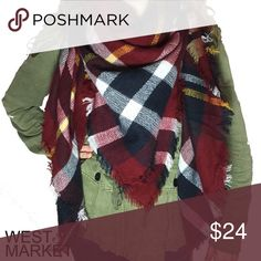 """-BACK FOR FALL- 🍂 Plaid Blanket Scarf Plaid blanket scarf with cashmere & acrylic. Exceptionally soft fabric! 55x55 inches. We cannot accept discounted offers on items marked """"Boutique""""! West Market SF Accessories Scarves & Wraps"""