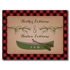 Evergreen Branches   Canoe Plaid Save The Date Postcard