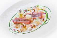 Photo of: Olive oil confit yellow fin tuna with dill pickled chayotte, oyster mayonnaise and toasted quinoa, Pied à Terre, Central London restaurant