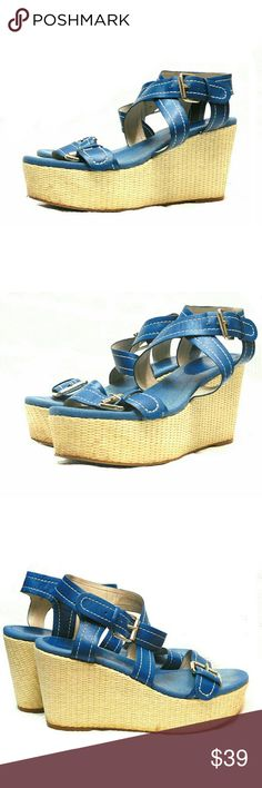 "NINE WEST DENIM BLUE LEATHER STRAP WEDGES NINE WEST DENIM BLUE LEATHER STRAP WEDGES  Pre-Loved/ EUC  SIZE 9M Leather Upper 1211 Balance Manmade Material Jute Wedges  3 1/2"" Silver Buckles, Saddle Stitching Due to Lighting, Color May Not be Exact  Pls See All Pics. Ask ? If Not Sure Nine West Shoes Wedges"