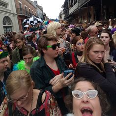 This is what results when you have a second line and EVERYone shows up. #ripdavidbowie #onlyinneworleans #mynola #frenchquarter #clusterfuck #poorplanning #shortchicksdontdocrowdswell #whoisarcadefire ?? by nola.darling70119