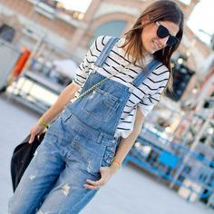 dungaree, fashion outfits, street style, stripe