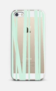 Pale Mint Stripes iPhone 6 case by Lisa Argyropoulos