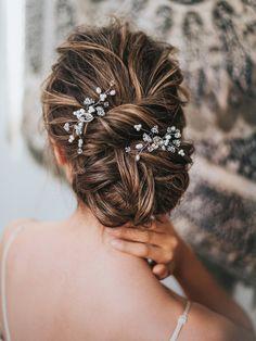 """""""Deanna"""" Hand Beaded Bridal Hair Pin - Bridal Hair Accessories by Hair Comes the Bride Box Braids Hairstyles, Bride Hairstyles, Pretty Hairstyles, Bridal Updo, Bridal Hair Pins, Romantic Bridal Hair, Bridal Comb, Curly Hair Styles, Natural Hair Styles"""