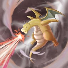 Mauricio J Flores (@maurojflores) | Twitter | Apparently #dragonite doesn't have a mega evolution so I invented a new attack for him. I'm calling it kame-hame-hyper-flame-thunderstorm-beam-thrower. Eat your heart out, mega evolvers! #pokemon #pokemongo #fanart #fanartfriday #digitalpainting #photoshop #illustration #dailypainting
