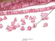 Milky Crystal Pink Bell flower Beads, Milky White Pink Czech Glass Baby Bell flower Bead Cap, Czech Glass Beads, 4x6mm, Lot Size 50, #4019