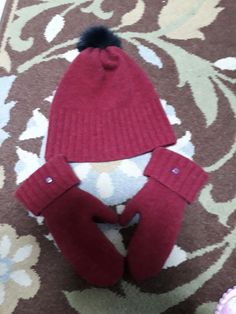 mittens and hat from an old sweater