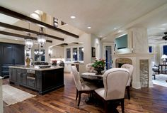 Yes! yes! thats the look we're going for! floor color is similar to ours, dark kitchen, light walls.