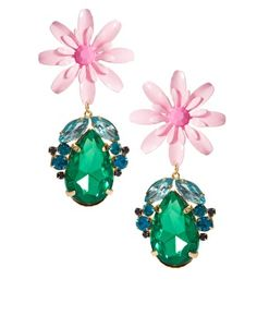 ASOS Flower & Jewel Drop Earrings
