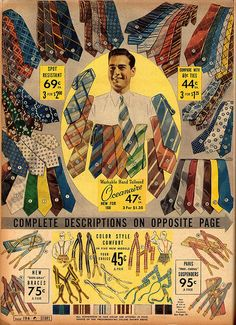 The 1920s and 1930s were very colorful, more than black and white movies lead us to believe.  A wide selection of men's ties and suspenders from Sears' Spring & Summer 1938 catalog. #vintage #menswear #fashion #clothes #1930s