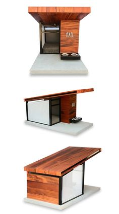 Introducing the Modern Dog House. RAH:DESIGN has created a modern dog house that you can see on the photos in the gallery below and named it Dog Haus. Pallet Dog House, Dog House Plans, House Dog, Large Dog House, Modern Dog Houses, Cool Dog Houses, Outside Dog Houses, Luxury Dog House, Canis