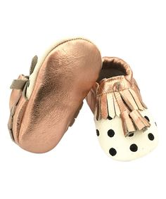 Look at this Rose Gold & Black Dot Leather Moccasin on #zulily today!