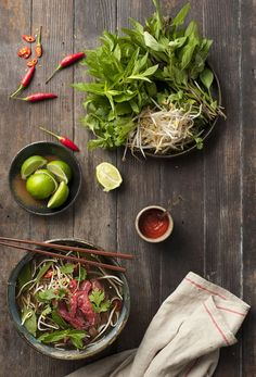 Vietnamese Pho - You get a broth soup with rice noodles and your choice of meat  (such as rare beef, shrimp, flank, etc) or vegetable. Then there is a plate on the side filled with things you can toss in including bean sprouts, herbs, onions, sauces, lime, and spice.