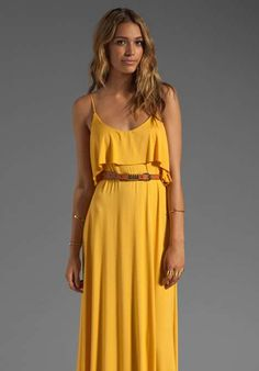 Rachel Pally Noomi Maxi Dress- perfect shade of mustard to accent with a rust colored leather Muubaa jacket and weathered brown booties to carry into fall