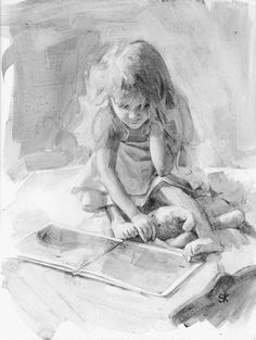 little girl reading charcoal drawing print - 11 x 14 - Their Favorite Story. $35.00, via Etsy.