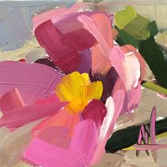 Pink Peony no. 11 Original Floral Oil Painting by Angela Moulton 4 x 4 inch on Linen