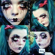 Creepy but sooo cool Halloween makeup Soirée Halloween, Creepy Halloween Makeup, Halloween Cosplay, Holidays Halloween, Creepy Doll Makeup, Halloween Costumes, Rag Doll Makeup, Scary Doll Costume, Voodoo Doll Makeup