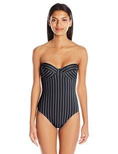 1c1a3cd434c Women's Port Villa Stripe Underwire Bandeau One Piece Swimsuit with  Removable Soft Cups Bandeau One Piece