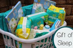Baby Gift of Sleep Hamper - changed  it a little from the original. 3 Pampers diapers - size 3 (27pcs), size 4(28pcs), size 5 (20pcs) 1Pampers wipes pack 1 Baby Blanket 1 baby Towel set 2 Baby Sleep suits 1 Johnson Baby Shampoo 1 Johnson Baby Lotion 1 Johnson Baby oil 1 Johnson Baby Powder I diaper rash ointment, 1 plastic laundry basket.