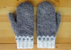 Icelandic Mittens Hand Knit with Heather Grey Lopi / Icelandic