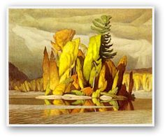 "Group of Seven painter, A. Casson (Ontario ""Little Island. Group Of Seven Artists, Group Of Seven Paintings, Canadian Painters, Canadian Artists, Art And Illustration, Landscape Art, Landscape Paintings, Landscapes, Watercolor Paintings"