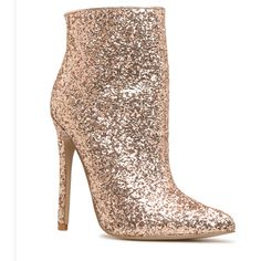 Rose Gold Shoes Heels, Sparkle Heels, Gold Sparkle, Heeled Boots, Peep Toe, Color, Products, Fashion, High Heel Boots