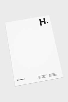 Personal branding by Simon Harris, via Behance Minimalistic Logo Design, Minimalist Layout, Minimal Graphic Design, Minimalist Business Cards, Graphic Design Branding, Brand Identity Design, Lettering Design, Minimalist Design, Letterhead Paper