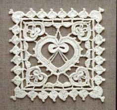 Lace heart crochet square ~ Free diagram.  Just beautiful.