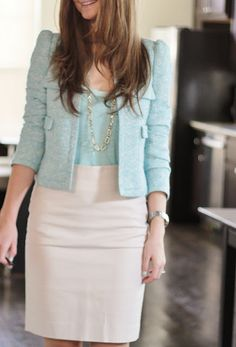 Mint and white office outfit Cute Work Outfits, Spring Work Outfits, Casual Outfits, Great Gatsby Fashion, Love Fashion, Cute Business Casual, Modest Fashion, Fashion Outfits, Work Attire