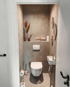 Small Downstairs Toilet, Small Toilet Room, Downstairs Bathroom, Bathroom Inspo, Powder Room Wallpaper, Tadelakt, Toilet Design, Bathroom Interior Design, House Styles