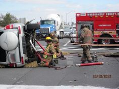 """When vehicles are rolled over, the greatest concern is stability. In most cases, the vehicle is not found """"teetering"""" on an edge. But, the mere fact that an arm or leg or worse could be pinned under the vehicle directs folks from the heavy rescue squad to stabilize the vehicle before attempting any patient removal."""