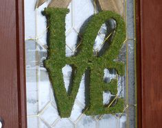 Valentine Wreath. Valentines Day Wreath. Moss and Burlap LOVE wreath. Modeled after the First Ever USPS Love Stamp.