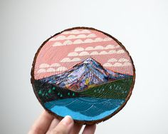 Mini mountain painting on cedar pink clouds by CathyMcMurray