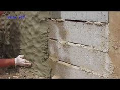 Making concrete wall in stone look itself. - All About Cement House, Rock Retaining Wall, Rock Fountain, Fake Rock, Driveway Paving, Diy Wand, Lake Decor, Stone Masonry, Castle House