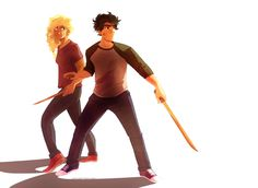 percy and annabeth (generally kicking ass and taking names) | art by anxiouspineapples