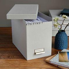 19x35x27 cm Dark Grey, White, Orange, Brown, Light Grey Filing Box with 8 Hanging Files