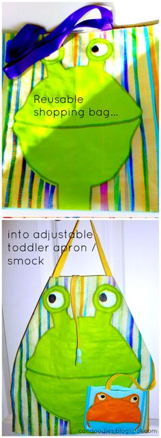 """A simple tutorial for turning a re-usable (read """"wipeable) shopping bag into an adjustable smock/apron for toddlers. #repurpose #shoppingbag #apron"""