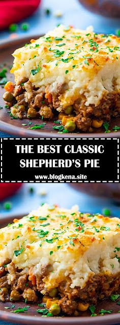 Easy Shepherd's Pie - a simple recipe for the classic comfort food casserole. Meat and vegetables are topped with mashed potatoes and cheddar cheese for a family-favorite dinner that is gluten free too. Easy Pie Recipes, Meat Recipes, Dinner Recipes, Cooking Recipes, Uk Recipes, Hamburger Recipes, Dinner Ideas, Cheeseburger Pie, Shepards Pie Easy