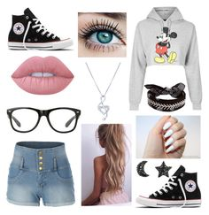"""""""😍❤️ Gorgeous!"""" by sillylilli02 on Polyvore featuring LE3NO, Topshop, Converse, Lime Crime, Fallon and BERRICLE"""