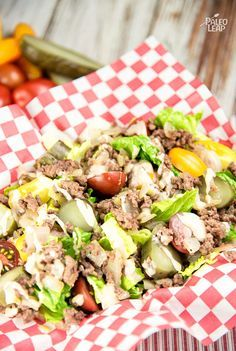 Hamburger Salad. I did not make the dressing for this since it has ketchup.  But it was good without the dressing!