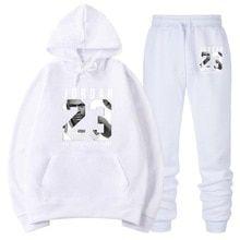 34fe5d3ac14 OLOEY jordan 23 white Tracksuit sweat men hoodie & sweatpants Fashion  jogger men set Spring streetwear