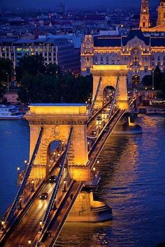 Peer Into The Past / The Chain Bridge and Danube, Budapest, Hungary. (the chain bridge and danube,budapest,hungary) Places Around The World, Oh The Places You'll Go, Travel Around The World, Places To Travel, Places To Visit, Around The Worlds, Wonderful Places, Beautiful Places, Danube River