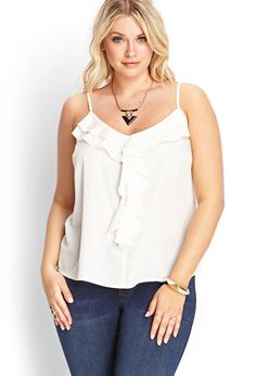 Ruffled Woven Cami | FOREVER21 PLUS. Cute, especially under a cardigan :)