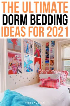 I was looking for the perfect dorm bedding and this was super helpful. If you need some dorm room ideas, this girl shows you the best dorm bedding sets ever! College Dorm Rooms, College Hacks, Dorm Bedding Sets, Bedroom Decor On A Budget, Dorm Room Organization, Dorm Essentials, Man Room, Room Ideas, Man's Bedroom