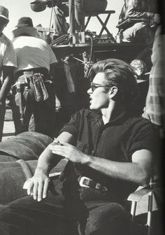 James Dean spending some down time on the set of Giant. What a great shot, one of my favorites!