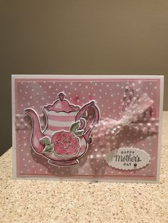 Mother's Day Card made using Stampin' Up Tea Together stamp set and 2019 Sale A Baration Tea Time Framelits. Diy Mothers Day Gifts, Fathers Day Cards, Diy Gifts, Tea Party Crafts, Mom Cards, Coffee Cards, Kindergarten Crafts, Tea Box, Mother's Day Diy
